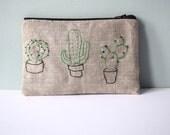 Cactus Linen Pouch - Embroidered organic linen Cacti Succulent Cactus zipped gadget pouch / pencil case