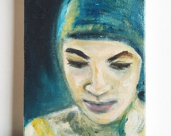 Cardiff-by-the-Sea .. original oil painting 5x7 tiny art artwork swimmer