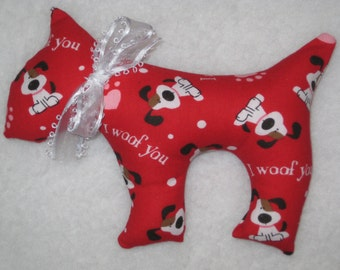 Red Dog Plush - I Woof You - READY to SHIP