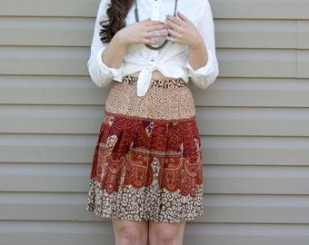 Vintage Silk Skirt - 80s High-Waisted Orange Paisley Ethnic Tribal Print Spring Summer SM