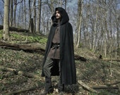 Renaissance Cape, Medieval Cloak, Hood, Viking, Ranger - Black