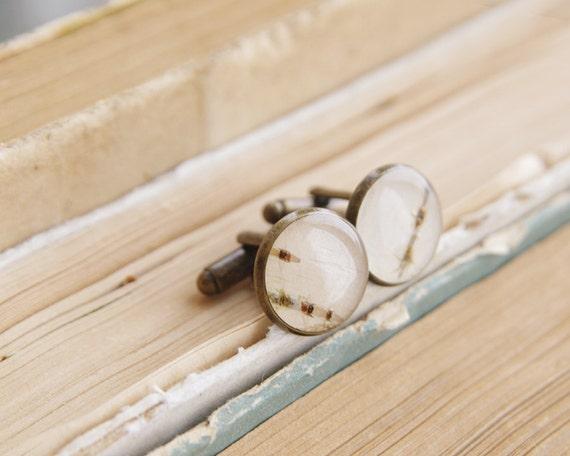 Real Birch Bark Cufflinks  - beige woodland Cuff links for men - for rustic wedding