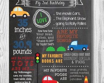 Custom Birthday Cars Themed Chalkboard Sign