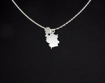 Serbia Necklace - Serbia Jewelry - Serbia Gift