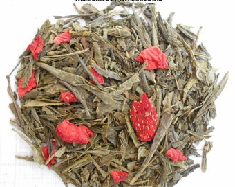 Tea, Green, Strawberry, Organic. Loose Leaf, Berry Tea, STRAWBERRY PAPAYA, Fruit Green Tea, Iced Tea, Hand Crafted, Vegan Tea, Tea Gift