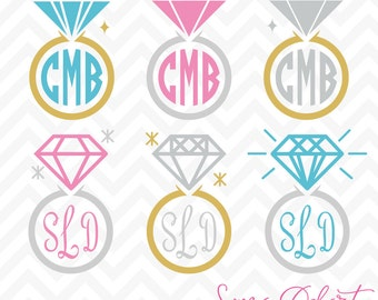 80% OFF Sale Svg Cuttables Monogram Diamond Wedding Rings Cut Files Set DXF SDD038