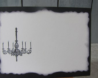 Chandelier Place Cards Food Buffet Label Tags Wedding Labels Black and White Cards set of 12