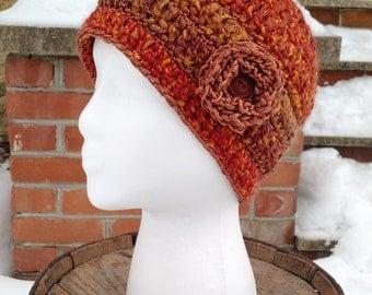 Sienna Crocheted Beanie with Flower, Beanies for Women, Crochet Hat with Flower Accent, Crocheted Hats, Orange Hats for Women, Womans Beanie
