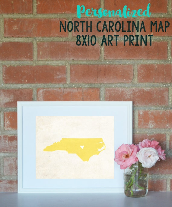 North Carolina Rustic State Map. Personalized North Carolina State Map. Wedding Map. Anniversary Gift. Wedding Gift. Art Print 8x10.