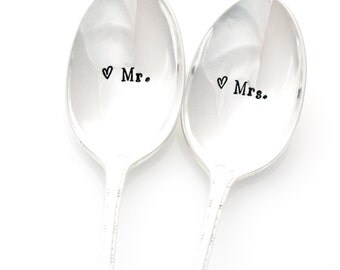 Mr. and Mrs. ice cream spoons, table setting, hand stamped for a unique engagement gift idea