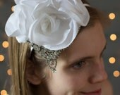 Bridal headband ~ Beautifully accented with handcrafted white satin blooms, and vintage rhinestone detailing