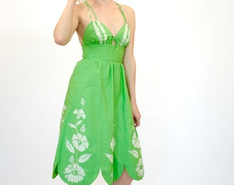 50's Retro Fit and Flare Dress, Spring Green Halter Dress