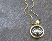 The Protective Eye talisman necklace on gold plated ball chain - mixed metals gold and silver - Evil Eye
