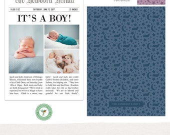 5x7 Birth Announcement Card - Newspaper Layout - Template - B51