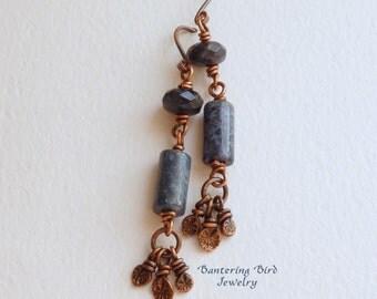 Copper Tassel Earrings with Sapphire Blue Gemstones,  Denim Blue Dumortierite Stone, Long Hammered Copper Dangle Earrings, Copper Jewelry