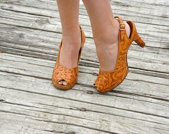 Tooled leather heels, tan brown floral peep-toe buckle shoes, 1950s 6