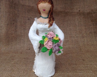 Hippie Bride, primitive paper mache clay, paper mâché, tabletop decor, flower bouquet, blue necklace, hand sculpted figurine, shabby chic
