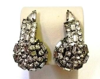Vintage Hobe Clear Rhinestone Earrings Designer Rhinestone Ear Climbers Bridal Earrings Wedding Jewelry Vintage Hobe Hollywood DD 897