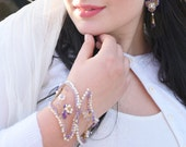 Purple Cuff ,  Amethyst cuff , Cuff Bracelet - Gold Statement bracelet - Bridal bracelet moonstone and freshwater pearl  -Winter Masquerade