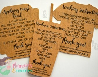Care Instructions, Care Cards, Decals, Drinkware, Clothing, Washing, Personalized Tags, Set of 20 Any Color