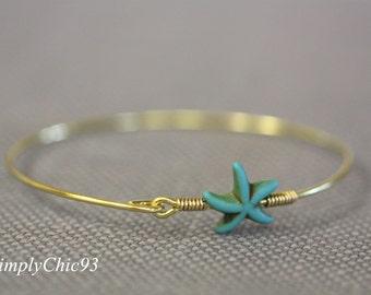 Boho Gold Turquoise Bangle Bracelet,Starfish, Star Bracelet, wire bangle, gold bracelet, Tribal Jewelry,Bohemian, Beach wedding,Yoga Jewelry