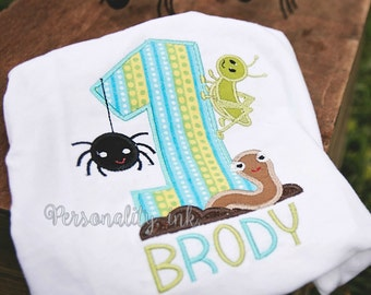 Bugs Birthday Shirt - First Birthday Shirt - Boys bug themed birthday shirt - backyard birthday - insect birthday - birthday bug