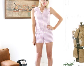 SALE Vintage 60s Romper Shorts Playsuit Lavender Gingham and Ruffles