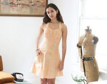 Vintage 40s Style Summer Dress T Back Peach Linen