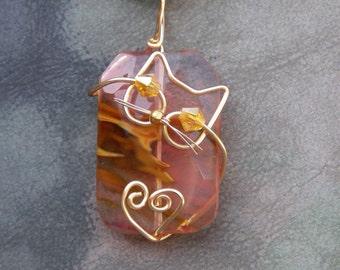Gold Wire Cat on Volcano Cherry Quartz Heart Pendant Necklace