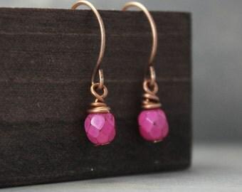 Copper Earrings, Pink Earrings, Pink & Copper Earrings, Czech Beads, Handmade Earrings, Dangle Earrings, Copper Jewelry, Wrapped Earrings