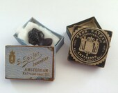 2 Antique Cardboard Jewish Jeweler's Boxes, S.Spijer, Oldest Jeweler Shop and Nathan, from  Amsterdam