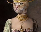 Boadicea, Vintage Cat Print, Anthropomorphic, Altered Photo, Whimsical Cat Art. Egyptian Cat, Unique Cat, Warrior Cat, Unusual Cat Art