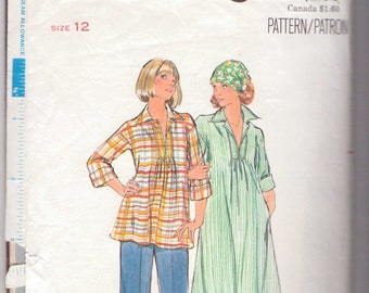 Butterick 4828 Sewing Pattern 70s Misses Maternity Dress, Top and Pants Size 12