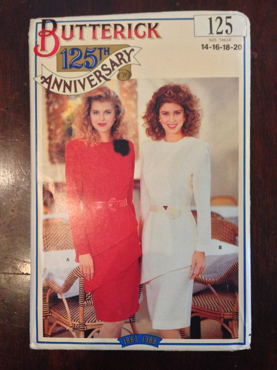Butterick 125 Sewing Pattern 80s UNCUT Misses Tunic and Skirt 125th Anniversary Size 14-20