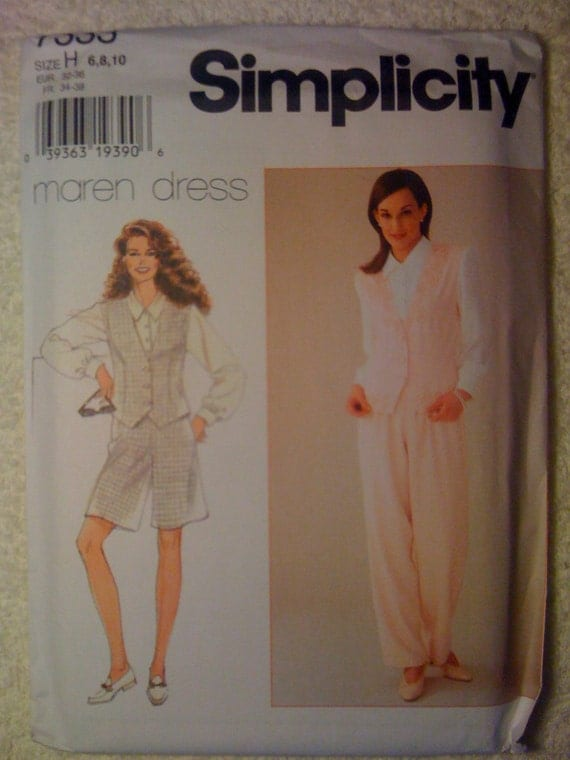 Simplicity 7333 Sewing Pattern Uncut 90s Misses and Miss Petite Blouse and Vest in One, Pants and Shorts Size 6-8-10