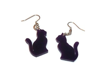 Cat Dangle Earrings Cute Kawaii Purple Laser Cut Kitty Quirky Kitsch Animal Jewelry