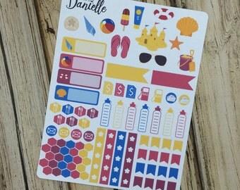 40-50% OFF SALE - Fun In The Sun Sticker Kit, Summer Vacation Planner Stickers, Beach Planner Sticker, Weekly Sticker, set of 88