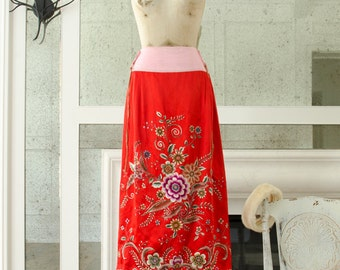 Vintage Chinese Silk Hand Embroidered Wedding Skirt