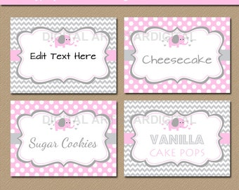 Pink Elephant Candy Buffet Labels - Pink Elephant Baby Shower Food Labels - Printable Elephant Buffet Cards - Baby Girl Shower Tent Cards