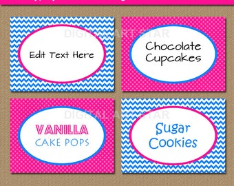 Hot Pink and Blue Buffet Cards, Pink Blue Tent Cards, Candy Buffet Labels, Chevron Birthday Labels, Baby Shower Labels, Gender Reveal Labels