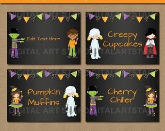 Printable Halloween Candy Buffet Labels - Halloween Chalkboard Buffet Cards - Kids Halloween Food Labels Editable Halloween Tent Cards HCBK