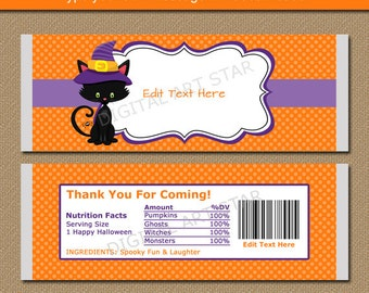 Kids Halloween Chocolate Bar Wrappers, Halloween Candy Wrappers, Printable Halloween Candy Labels, EDITABLE Halloween Birthday Party Favors