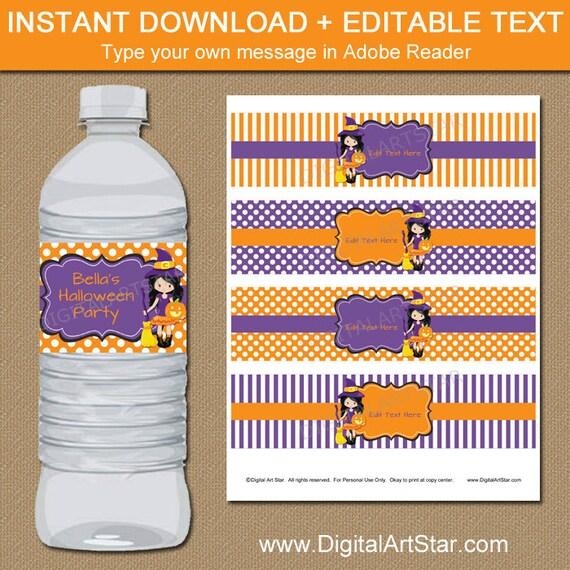 Printable halloween water bottle labels cute halloween decor for Decor water bottle