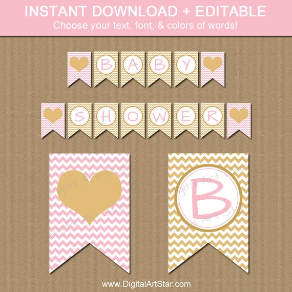 Pink and gold baby shower decorations printable baby shower for Baby shower decoration templates