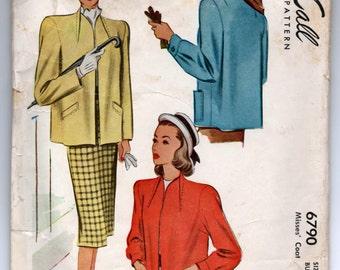 "1940's McCall Women's Coat Pattern - Bust 36"" - No. 6790"