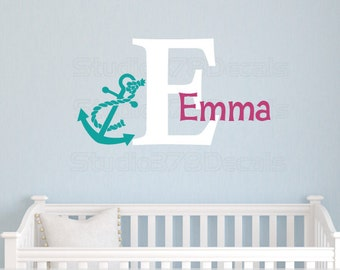 Girls Anchor Name Wall Decal | Nautical Nursery Decor | Seaside Decor | Nautical Kids Decor | Beach Wall Decal | Personalized Name Decal