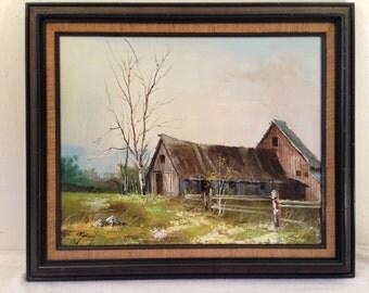 Vintage Barn Farm LANDSCAPE Oil Painting Signed Monimel?