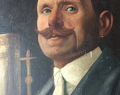French portrait oil painting. 1910 Adopt a grand father.