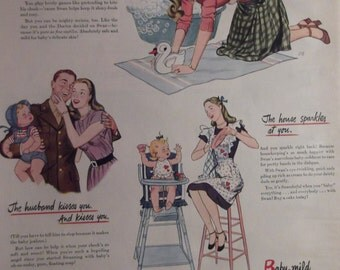SWAN SOAP Original Vintage Magazine Ad Kitchen Bath Wall Decor Dish Baby Soap Laundry Soap Ready To Frame Additional Ads Ship FREE