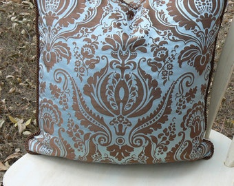 Pillow 26 Blue Chocolate Damask